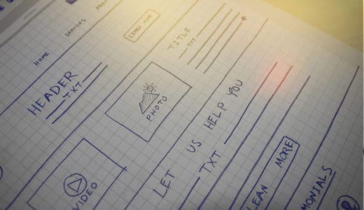 early sketch of a web page