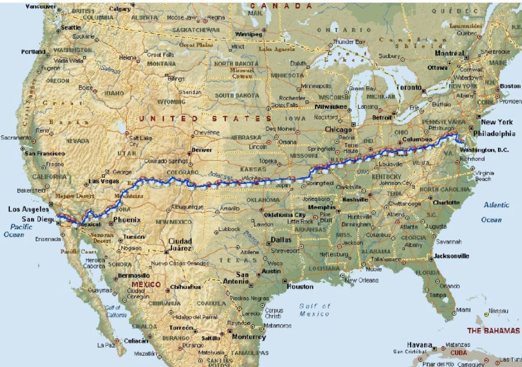 2014 Race Across America route map