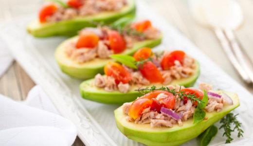 Avocado, tuna, and tomato salad photo by Vitalina Rybakova