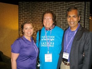 Jeannie Tom and two friends at a conference