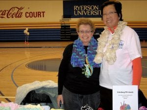 Jeannie Tom and a freind in a gymnasium
