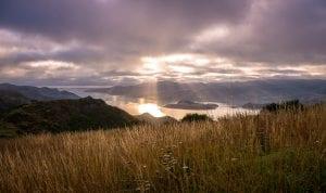 Beautiful mountain and lake scene in New Zealand